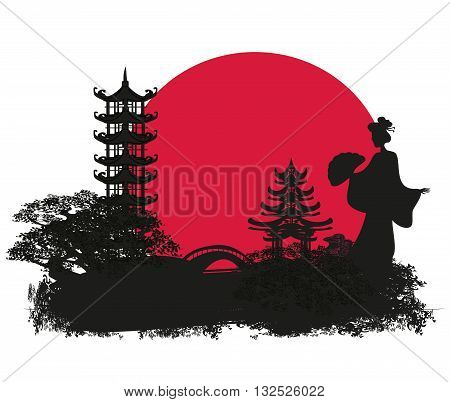 grunge abstract landscape with Asian geisha silhouette girl , vector illustration