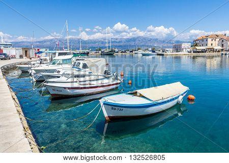 Brac Croatia - May 07 2016: Supetar harbor Brac Island