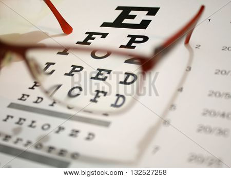 eyeglasses and eye chart close-up on a light background