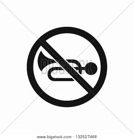No horn traffic sign icon in simple style isolated on white background