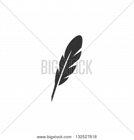 Feather icon on white background. Feather logo element for template. Modern vector pictogram for web graphics. Flat design style. Vector illustration. - stock vector