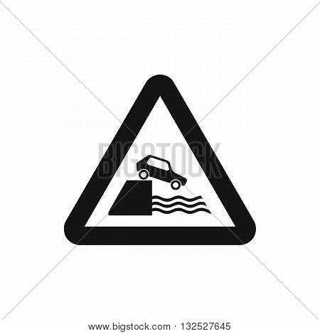 Riverbank traffic sign icon in simple style isolated on white background