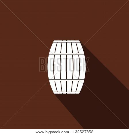 Wooden barrel icon with long shadow. Vector Illustration.