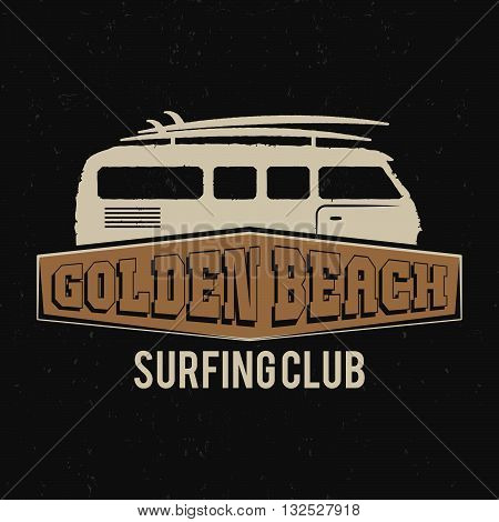 Vintage Surfing club tee design. Retro t-shirt Graphics and Emblem for web design or print. Surf board, golden beach logo design. Surf van symbol. Retro rv car. Summer boarding on waves. Vector.