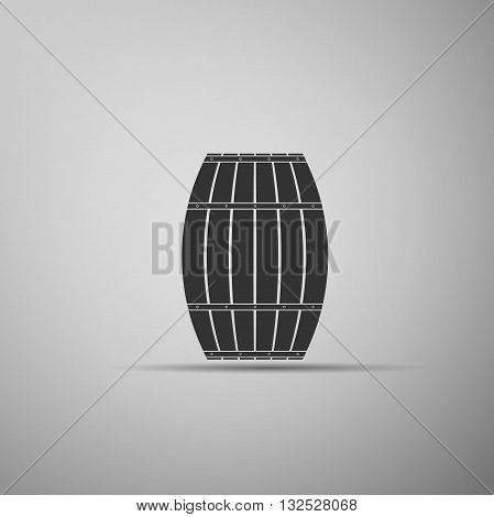 Wooden barrel icon on white background. Vector Illustration.