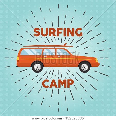 Vector retro flat web banner design on surfing, best summer vacation, beach recreation, water activities for travel agency promotion with woody surf car, surfboards. Vintage car with sunbursts.