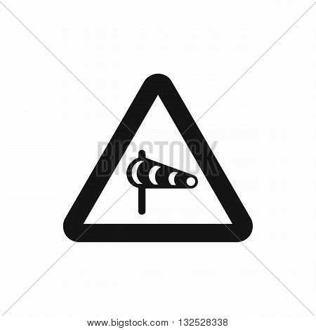 Sign warning about cross wind from the left icon in simple style isolatedon white background
