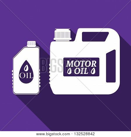 Blank plastic canister for motor oil icon with long shadow. Vector Illustration