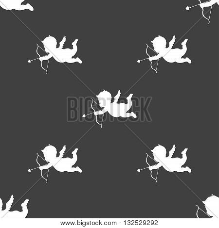 Cupid Icon Sign. Seamless Pattern On A Gray Background. Vector