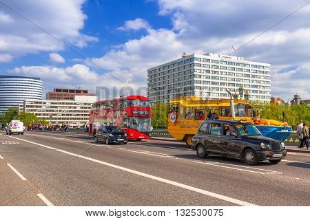 LONDON, ENGLAND - May 14, 2016 : Traffic on the street of London, England. London is the capital and most populous city of England, Britain, and the United Kingdom.