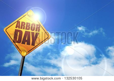 arbor day, 3D rendering, glowing yellow traffic sign