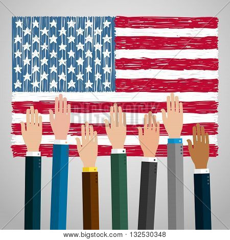 Concept of voting. Hands raised up, election day campaign. Flat design, vector illustration.