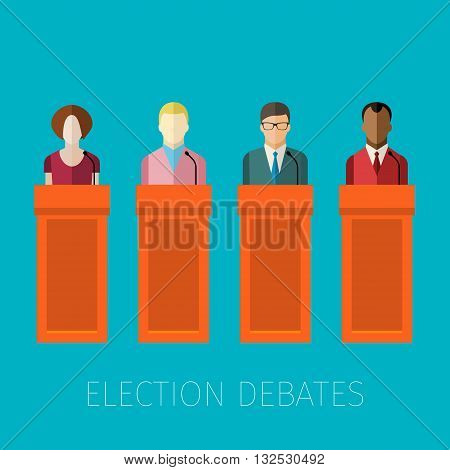 Concept of election debates or press conference. Flat design, vector illustration.