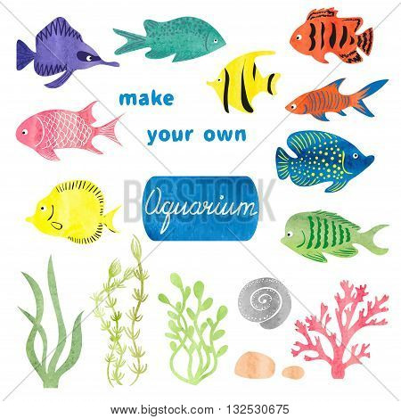 Set of different fishes and decorations for making your own aquarium. Watercolor vector illustration. Tropical fish and seaweeds isolated on white background. Colorful icons.