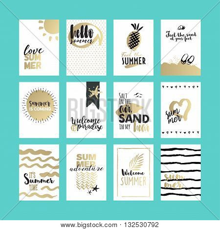 Hand drawn summer cards and banners collection. Vector illustrations for graphic and web design, for summer vacation, beach party, greeting cards, enjoying the sun and sea