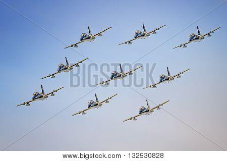 Igea Marina, Italy - June 21, 2015: Italian Tricolor Arrows at airshow