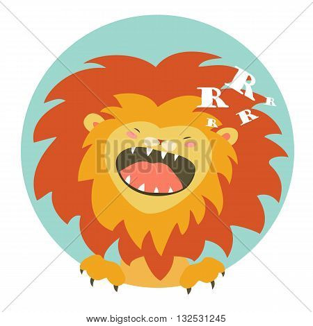 Cartoon character funny lion roaring. Vector illustration