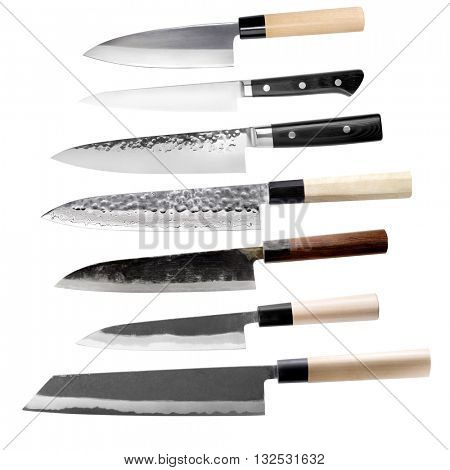 Traditional Japanese seven knife set isolated on white background.