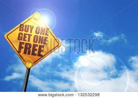 buy one get one free, 3D rendering, glowing yellow traffic sign