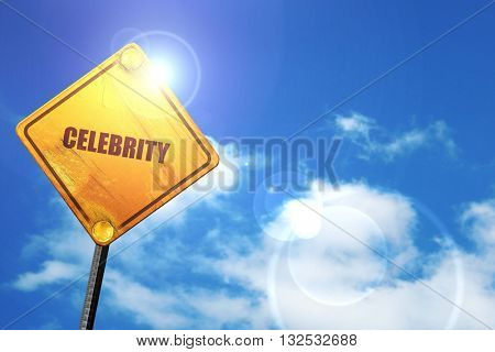 celebrity, 3D rendering, glowing yellow traffic sign