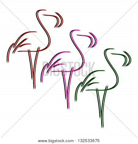 Three contour Flamingo - red pink green. Figure tropical birds from lines. On white background vector. Pink Flamingo - set of images