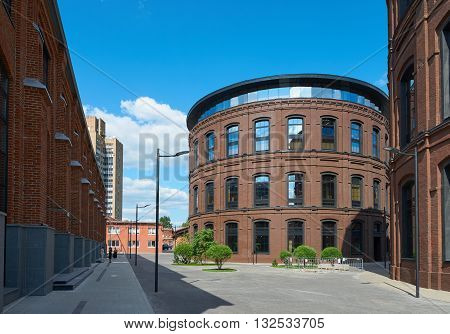 Moscow Russia - June 01 2016: Beautiful view on reconstructed part of Moscow. Complex of buildings on the territory of former Arma factory. Nizhniy Susalniy pereulok (lane) in Moscow.