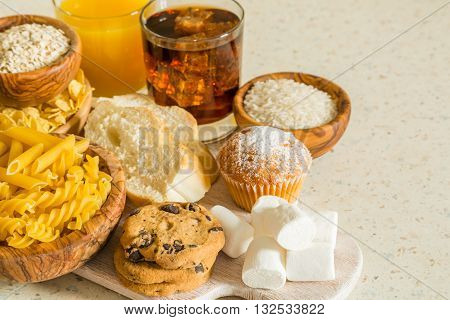 Selection of bad sources carbohydrates, copy space