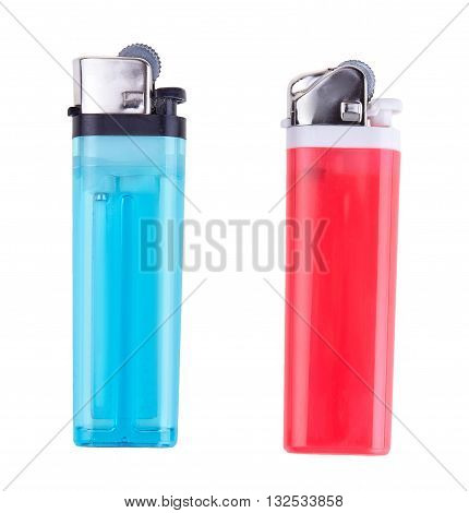 Blue and red lighters isolated on white background.