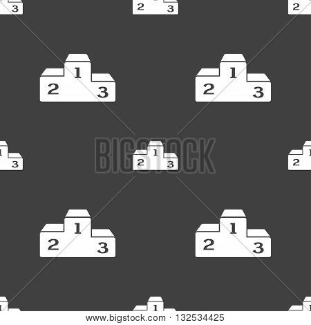 Podium Icon Sign. Seamless Pattern On A Gray Background. Vector