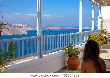 MELOS GREECE - SEPTEMBER 3 2012: View of the Melos bay that leads to Adamantas Port from the town of Plaka.