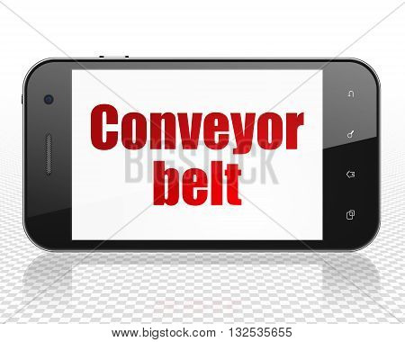 Industry concept: Smartphone with red text Conveyor Belt on display, 3D rendering