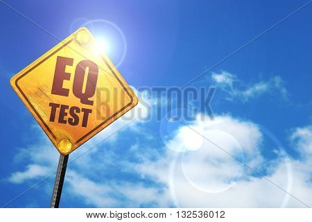 eq test, 3D rendering, glowing yellow traffic sign