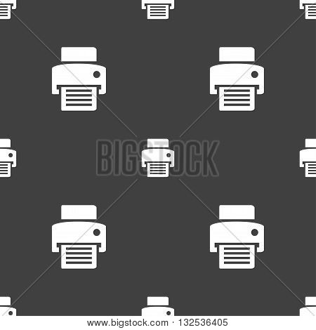 Fax, Printer Icon Sign. Seamless Pattern On A Gray Background. Vector