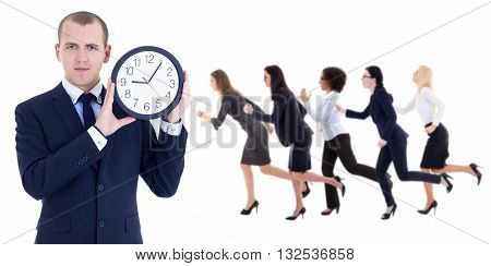 Deadline Concept - Young Businessman Holding Office Clock And Running People Isolated On White