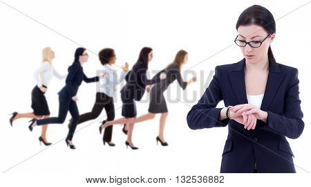 Deadline Concept - Young Business Woman Checks Time On Wrist Watch And Her Running Colleagues Isolat