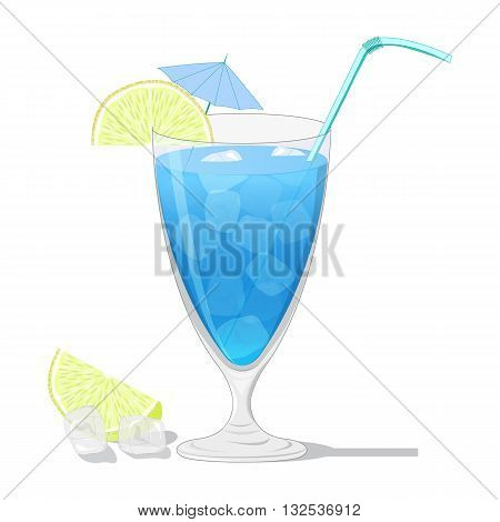 Blue Lagoon cocktail with a lemon slice isolated on white background