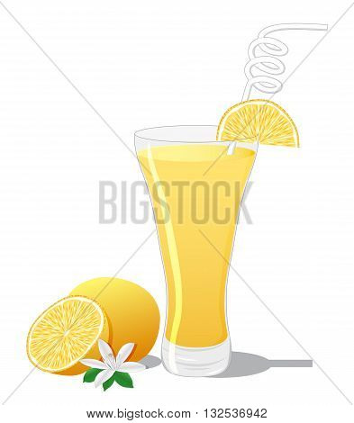 Screwdriver cocktail with orange slice isolated on white background