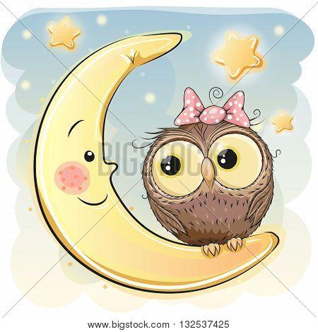 Cute Cartoon Owl girl on the moon