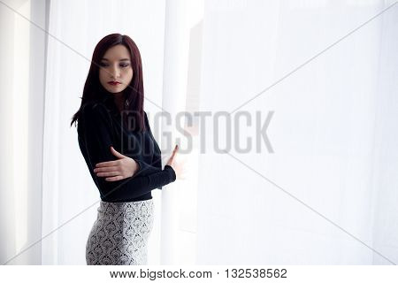 Formally Dressed Young Brunette Woman