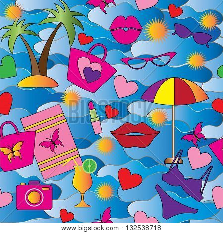 Seamless background from summer women set. On the blue sea with gradient are colored palm, sun, glasses, lipstick, camera, beach bag, lips and butterfly. Can be scaled to any size.