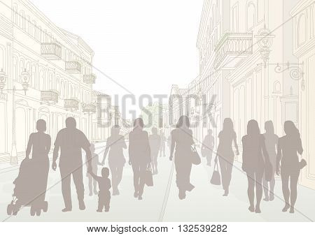 Daytime city street and dark people silhouettes
