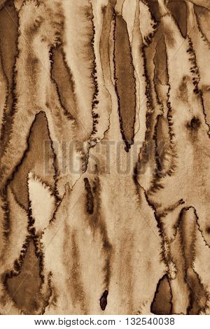 Abstract Watercolor On Paper Texture As Background. In Sepia Toned. Retro Style