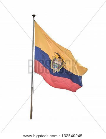 Side view of ecuadorian flag flying isolated against white background