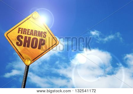 firearms shop, 3D rendering, glowing yellow traffic sign