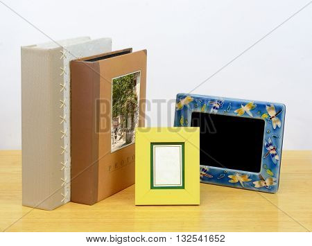 Photo frames and albums. Suitable for printing services and photographic shop