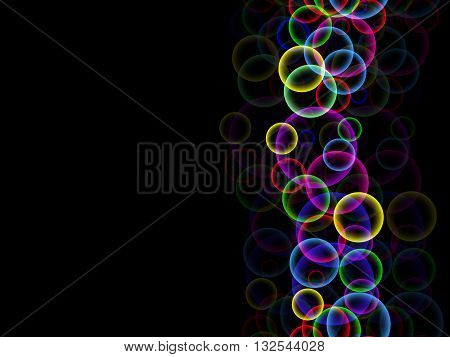 Abstract Black Background With Climbing Up The Column Of Colored Bubbles And Their Reflection