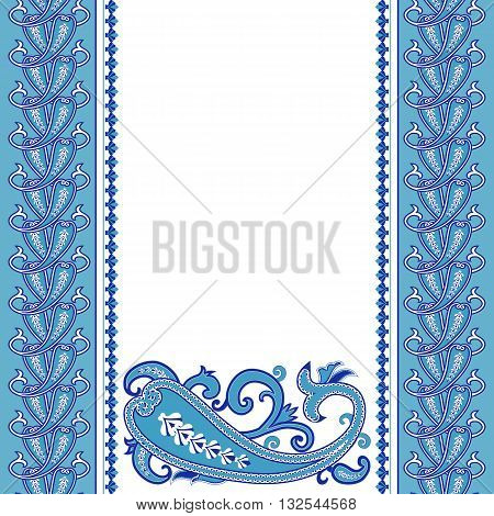 Wedding invitation card with traditional ethnic flower paisley ornament. Invitation, Save the date, RSVP, Thank you card printable template.