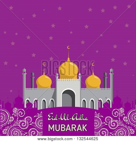 Flat Vector Illustration of Mosque for Muslim Community Festival Eid Al Fitr Mubarak.