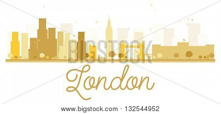 London City skyline golden silhouette. Vector illustration. Simple flat concept for tourism presentation, banner, placard or web site. London isolated on white background