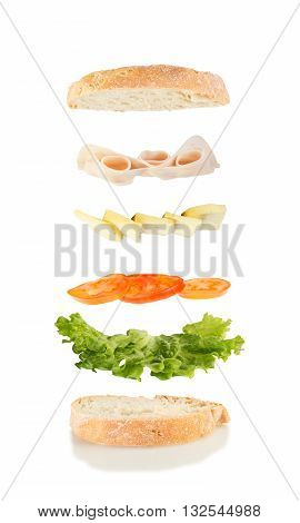 sandwich with lettuce tomato cheese and ham